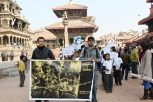 A student rally in progress carrying slogans related with social harmony from Patan Durbar Square to UN House. Photo: UNIC