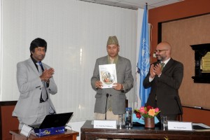 Yuwaraj Khatiwada, Governor of Nepal Central Bank releasing Least Developed Countries Report 2012, Also seen are Robert Piper, UN Resident and Humanitarian Coordinator, and (Left) Basudeb Guha-Khasnobis, UNDP Senior Economist. Photo: UNIC