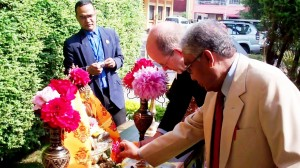 Head of Office and UNESCO Representative to Nepal, Mr. Axel Plathe inaugurating the International Observance of the Day of Vesak on 5 May 2012 at the UN House by lighting the sacred lamp. Photo: UNIC