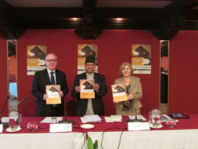 From left: UN Resident Coordinator a.i and UNIC Director Terence D. Jones, National Planning Commission Vice Chair Deependra Bahadur Kshetry, Chief of Trade Policy and Analysis Section, UN ESCAP Bangkok Mia Mikic launching  ESCAP Report 2013.    Photo: UNIC