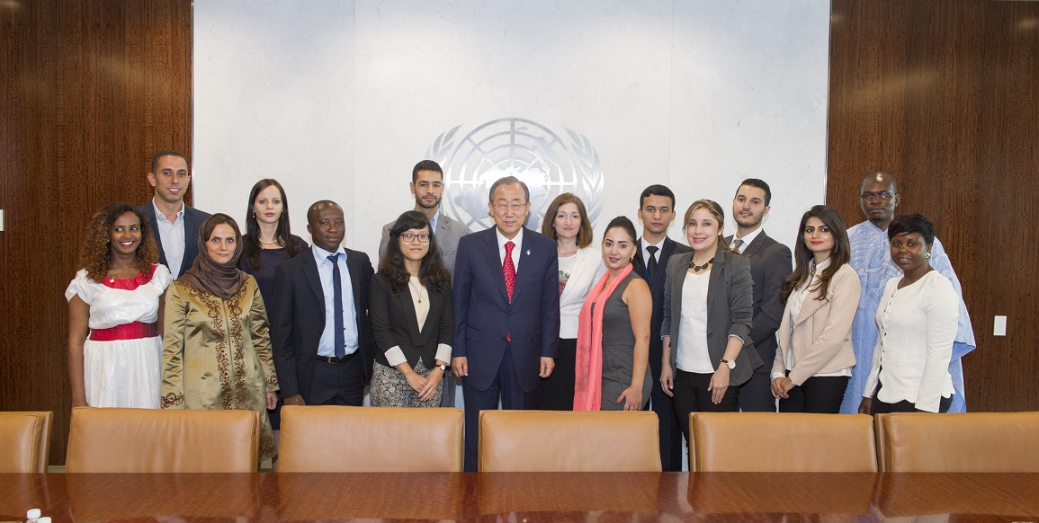 Secretary-General meets with 2014 Reham Al-Farra Fellows.